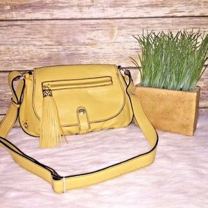 Brighton Mustard Yellow Leather Mini Crossbody